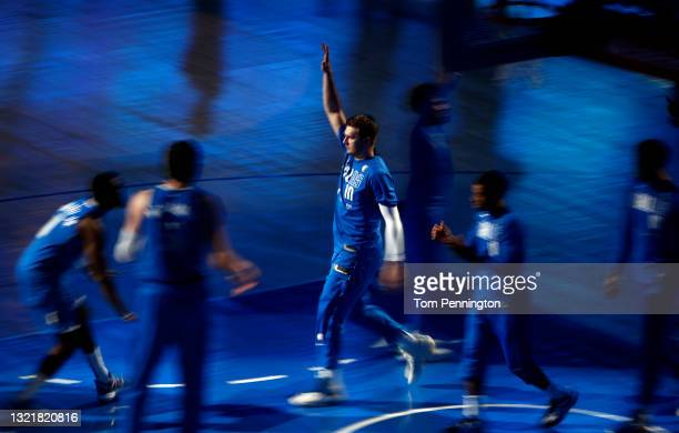 Luka Doncic of the Dallas Mavericks takes the court during player introductions before the Dallas Mavericks take in the LA Clippers during Game Six...