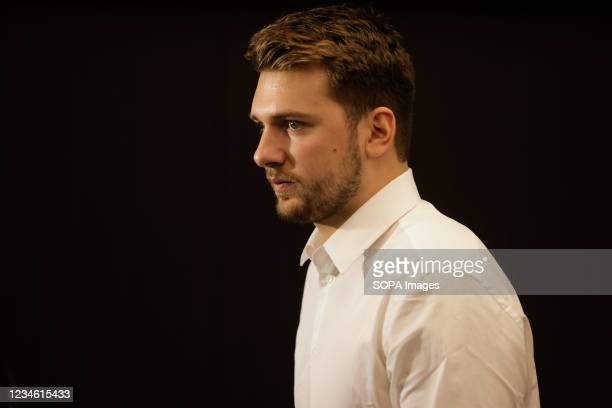 Luka Doncic seen at a press conference. Slovenian NBA star, Luka Doncic signed a five-year 207-million-dollar contract extension with the Dallas...