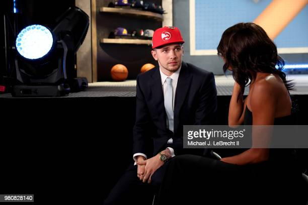 Luka Doncic talks to the media after being selected number third overall by the Atlanta Hawks on June 21 2018 at Barclays Center during the 2018 NBA...