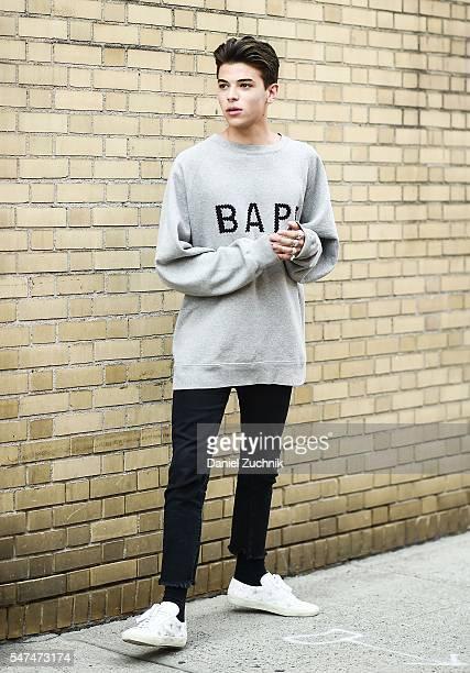 Luka Fersko is seen outside the Parke Ronen show wearing a Bape sweater during New York Fashion Week Men's S/S 2017 Day 4 on July 14 2016 in New York...
