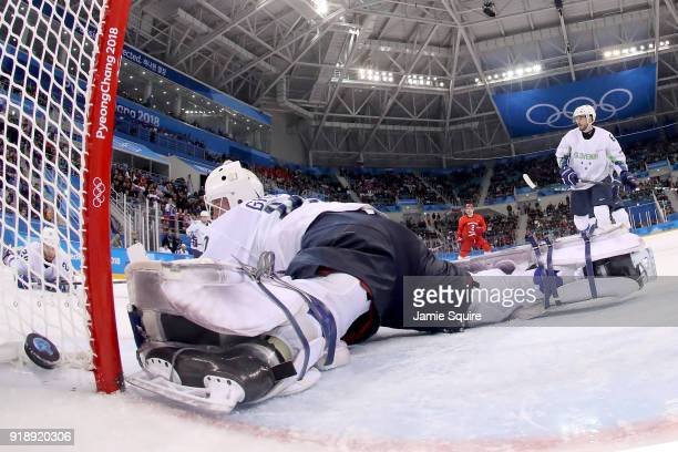Luka Gracnar of Slovenia gives up a goal to Kirill Kaprizov of Olympic Athlete from Russia in the third period during the Men's Ice Hockey...