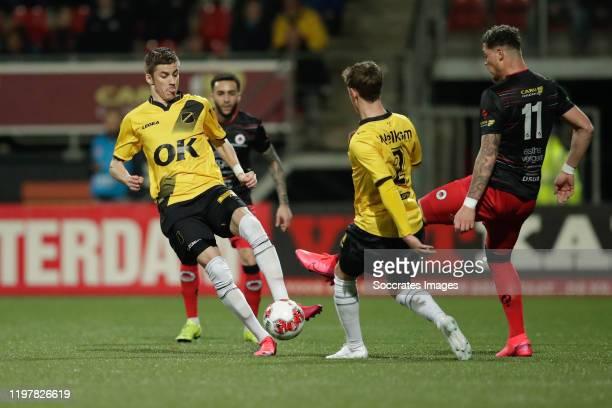 Luka Ilic of NAC Breda, Robin Schouten of NAC Breda , Joel Zwarts of Excelsior Rotterdam during the Dutch Keuken Kampioen Divisie match between...