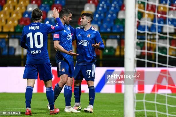 Luka Ivanusec of Dinamo Zagreb celebrates with team mate Arijan Ademi after scoring their side's fourth goal during the Hrvatski Nogometni Kup 2021...