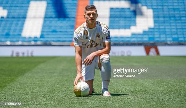 Luka Jovic is presented as new player of Real Madrid CF at Estadio Santiago Bernabeu on June 12 2019 in Madrid Spain