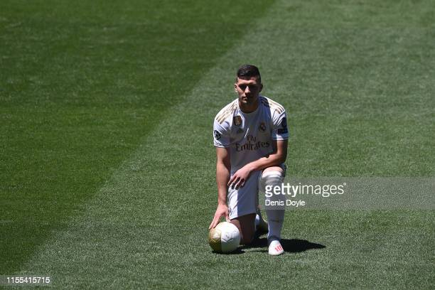 Luka Jovic is unveiled as a new Real Madrid signing at Estadio Santiago Bernabeu on June 12 2019 in Madrid Spain