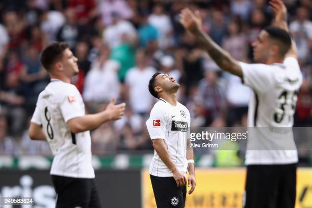 Luka Jovic Marco Fabian and Omar Mascarell of Frankfurt react during the Bundesliga match between Eintracht Frankfurt and Hertha BSC at...