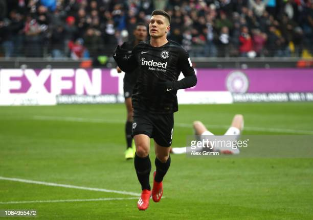 Luka Jovic of Eintracht Frankfurt celebrates after scoring his sides third goal during the Bundesliga match between Eintracht Frankfurt and SportClub...