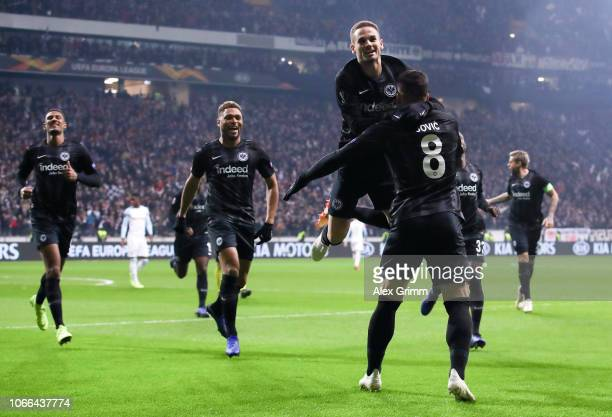 Luka Jovic of Eintracht Frankfurt celebrates after scoring his team's first goal with his team mates during the UEFA Europa League Group H match...