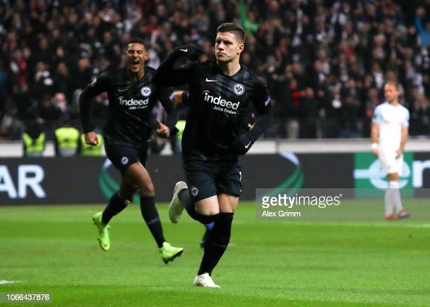 Luka Jovic of Eintracht Frankfurt celebrates after scoring his team's first goal during the UEFA Europa League Group H match between Eintracht...