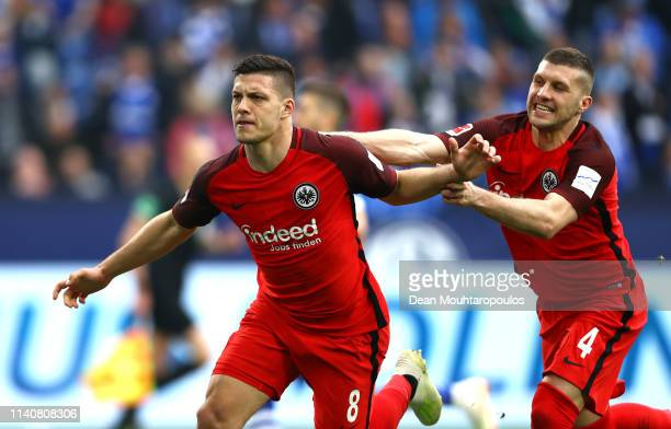 Luka Jovic of Eintracht Frankfurt celebrates after scoring his team's second goal with Ante Rebic of Eintracht Frankfurt during the Bundesliga match...