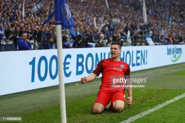 Luka Jovic of Eintracht Frankfurt celebrates after scoring his team's second goal during the Bundesliga match between FC Schalke 04 and Eintracht...