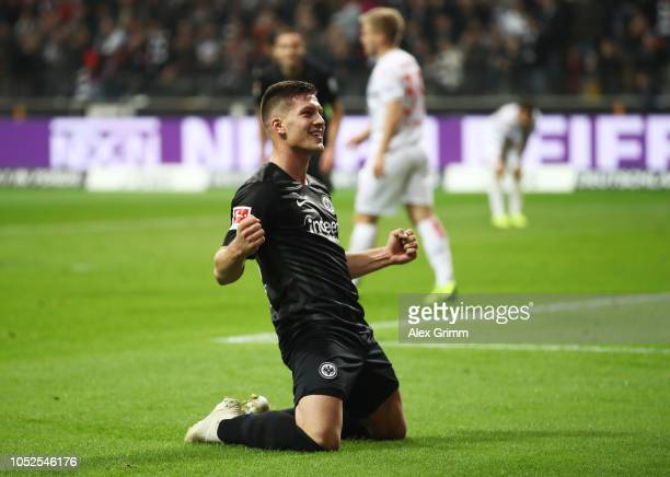 Luka Jovic of Eintracht Frankfurt celebrates as he scores his team's seventh goal and his fifth during the Bundesliga match between Eintracht...