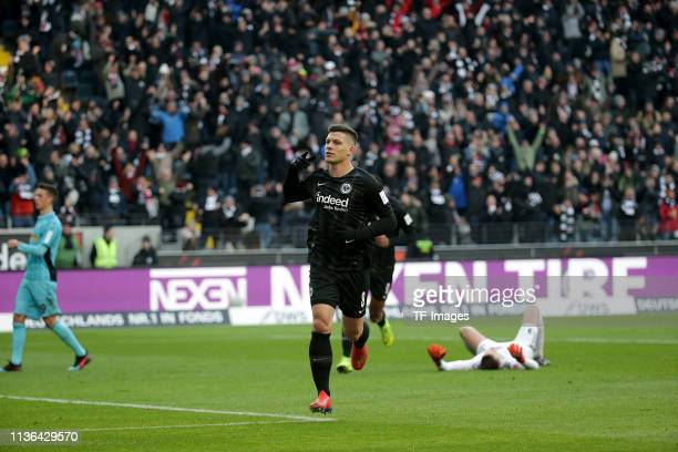 Luka Jovic of Eintracht Frankfurt celebrates during the Bundesliga match between Eintracht Frankfurt and SC Freiburg at Commerzbank Arena on January...
