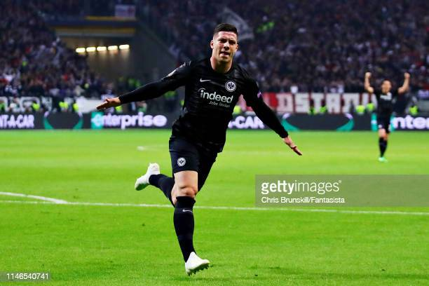 Luka Jovic of Eintracht Frankfurt celebrates scoring the opening goal during the UEFA Europa League Semi Final First Leg match between Eintracht...