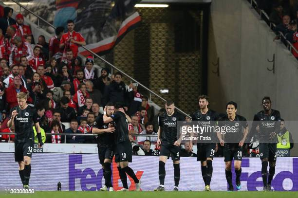 Luka Jovic of Eintracht Frankfurt celebrates with teammates after scoring a goal during the UEFA Europa League Quarter Final First Leg match between...