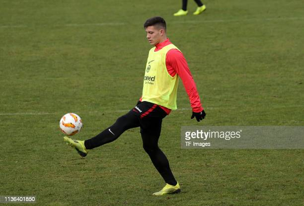 Luka Jovic of Eintracht Frankfurt controls the ball during a training session of Eintracht Frankfurt at Commerzbank Arena on December 11 2018 in...