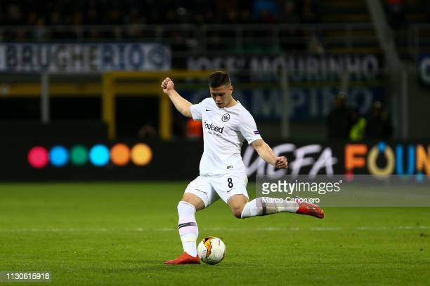 Luka Jovic of Eintracht Frankfurt in action during the UEFA Europa League Round of 16 Second leg match between FC Internazionale and Eintracht...