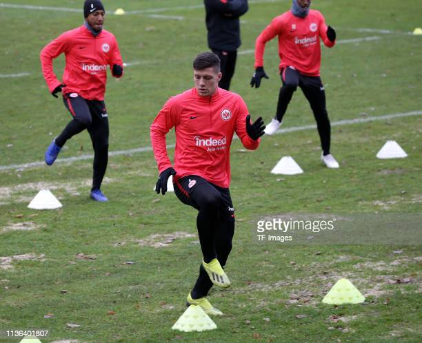 Luka Jovic of Eintracht Frankfurt makes training exercises during a training session of Eintracht Frankfurt at Commerzbank Arena on December 11 2018...