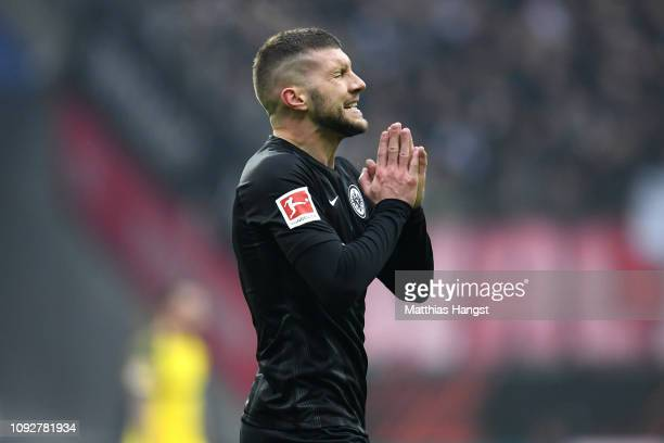 Luka Jovic of Eintracht Frankfurt reacts during the Bundesliga match between Eintracht Frankfurt and Borussia Dortmund at CommerzbankArena on...