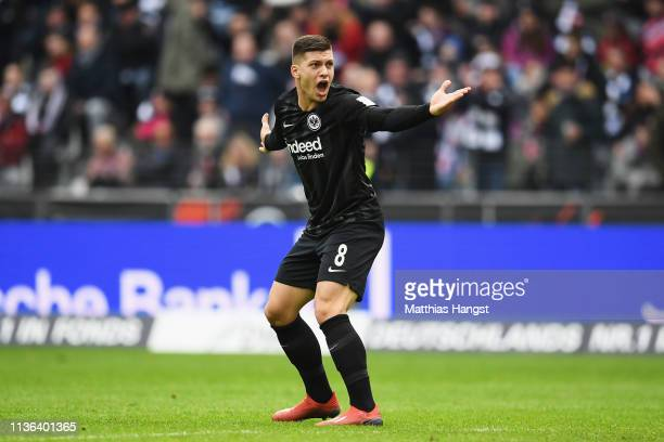 Luka Jovic of Eintracht Frankfurt reacts during the Bundesliga match between Eintracht Frankfurt and 1 FC Nuernberg at CommerzbankArena on March 17...