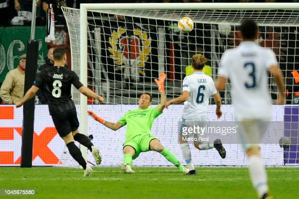 Luka Jovic of Eintracht Frankfurt scores a third goal during the UEFA Europa League Group H match between Eintracht Frankfurt and SS Lazio at...