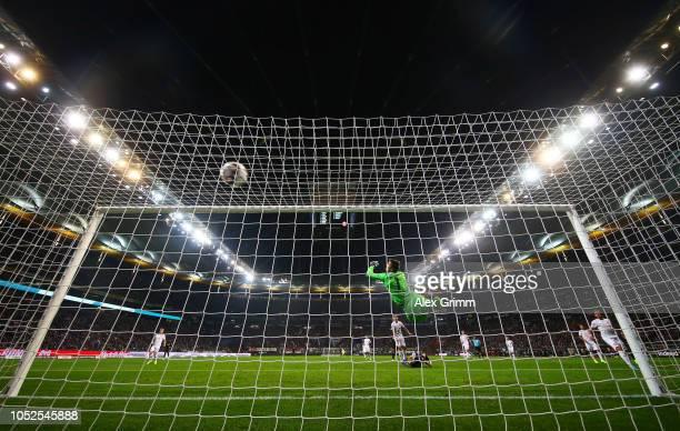 Luka Jovic of Eintracht Frankfurt scores his team's second goal past Michael Rensing of Fortuna Duesseldorf during the Bundesliga match between...