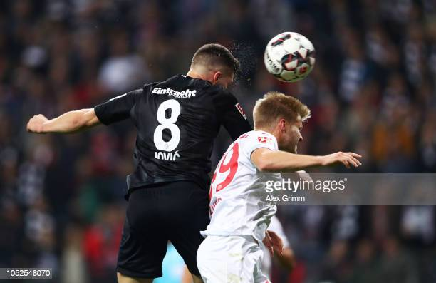 Luka Jovic of Eintracht Frankfurt scores his team's seventh goal and his fifth during the Bundesliga match between Eintracht Frankfurt and Fortuna...