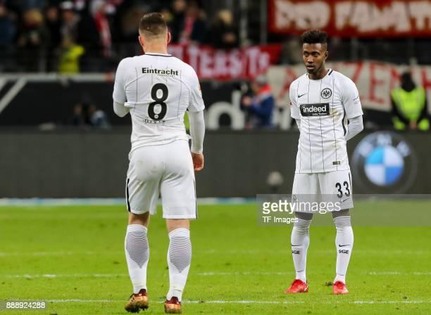Luka Jovic of Frankfurt and Taleb Tawatha of Frankfurt look dejected after the Bundesliga match between Eintracht Frankfurt and FC Bayern Muenchen at...
