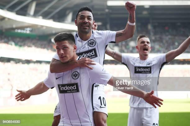 Luka Jovic of Frankfurt celebrate after his first goal during the Bundesliga match between SV Werder Bremen and Eintracht Frankfurt at Weserstadion...