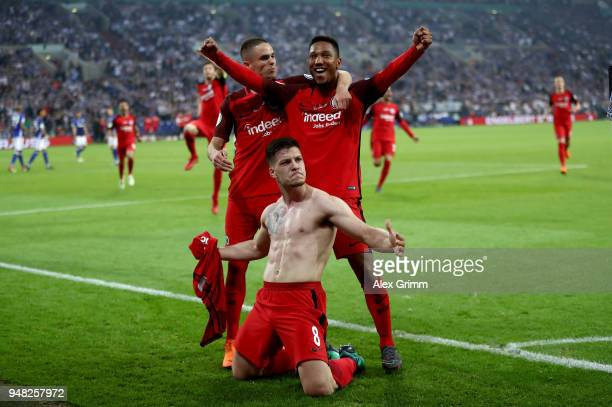 Luka Jovic of Frankfurt celebrate with his team mates after he scores the opening goal during the Bundesliga match between FC Schalke 04 and...