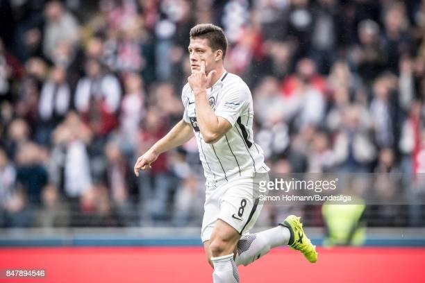 Luka Jovic of Frankfurt celebrates a goal during the Bundesliga match between Eintracht Frankfurt and FC Augsburg at CommerzbankArena on September 16...