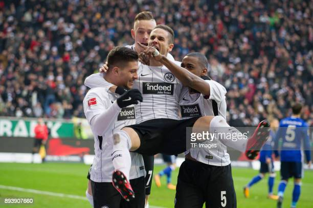 Luka Jovic of Frankfurt celebrates after scoring his team`s first goal with team mates during the Bundesliga match between Eintracht Frankfurt and FC...
