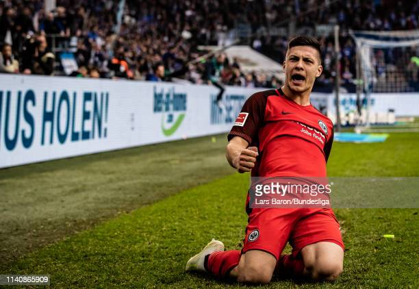 Luka Jovic of Frankfurt celebrates after scoring his teams winning goal during the Bundesliga match between FC Schalke 04 and Eintracht Frankfurt at...