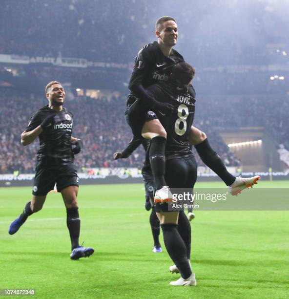Luka Jovic of Frankfurt celebrates his team's first goal with team mate Mijat Gacinovic during the UEFA Europa League Group H match between Eintracht...