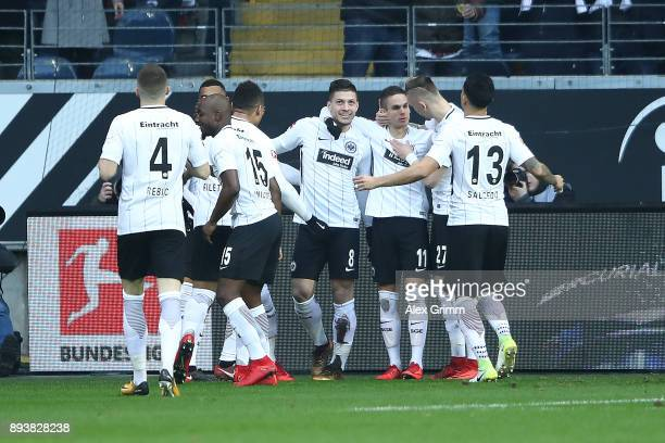 Luka Jovic of Frankfurt celebrates with team mates after he scored a goal to make it 10 during the Bundesliga match between Eintracht Frankfurt and...