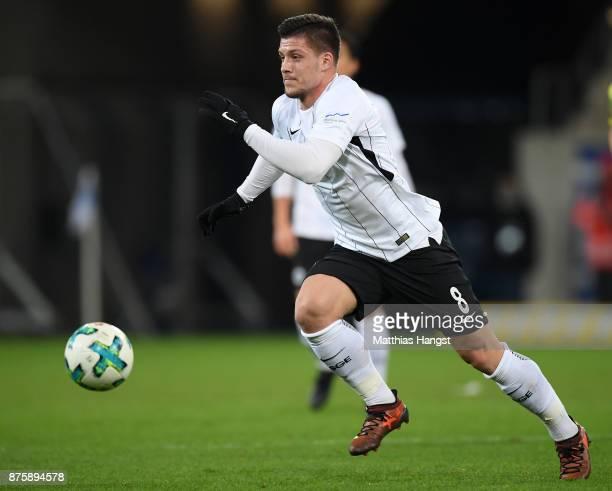 Luka Jovic of Frankfurt controls the ball during the Bundesliga match between TSG 1899 Hoffenheim and Eintracht Frankfurt at Wirsol RheinNeckarArena...