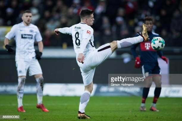 Luka Jovic of Frankfurt controls the ball during the Bundesliga match between Eintracht Frankfurt and FC Bayern Muenchen at CommerzbankArena on...