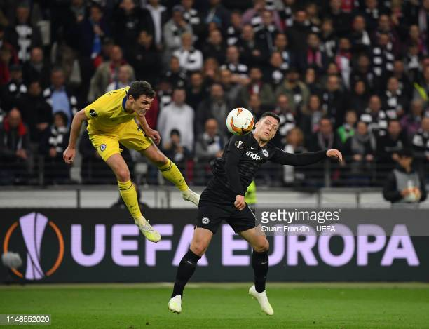 Luka Jovic of Frankfurt is challenged by Andreas Christensen of Chelsea during the UEFA Europa League Semi Final First Leg match between Eintracht...