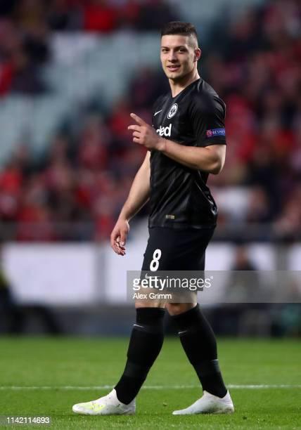 Luka Jovic of Frankfurt reacts during the UEFA Europa League Quarter Final First Leg match between Benfica and Eintracht Frankfurt at Estadio do...