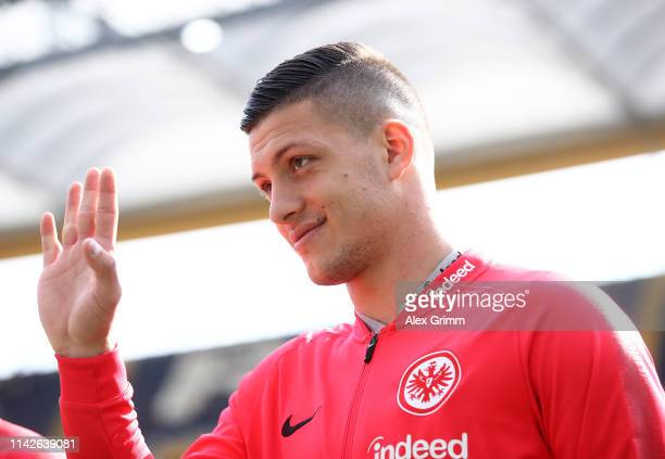 Luka Jovic of Frankfurt waves to fans before the kick off of the Bundesliga match between Eintracht Frankfurt and FC Augsburg at CommerzbankArena on...