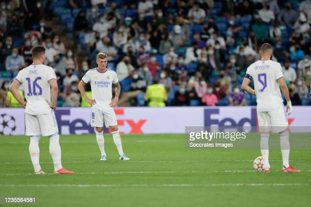Luka Jovic of Real Madrid, Toni Kroos of Real Madrid, Karim Benzema of Real Madrid disappointed during the UEFA Champions League match between Real...