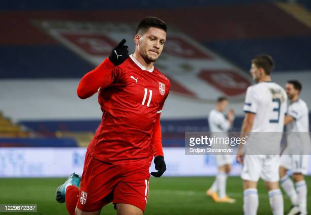 Luka Jovic of Serbia celebrates after scoring a goal during the UEFA Nations League group stage match between Serbia and Russia at Rajko Mitic...