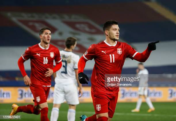 Luka Jovic of Serbia celebrates after scoring a goalduring the UEFA Nations League group stage match between Serbia and Russia at Rajko Mitic Stadium...