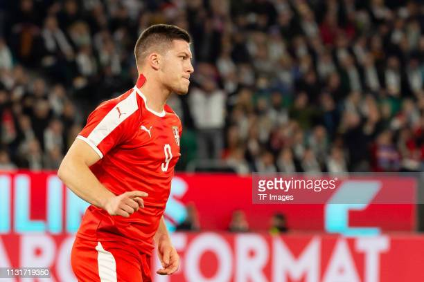 Luka Jovic of Serbia celebrates after scoring his team's first goal during the International Friendly match between Germany and Serbia at Volkswagen...