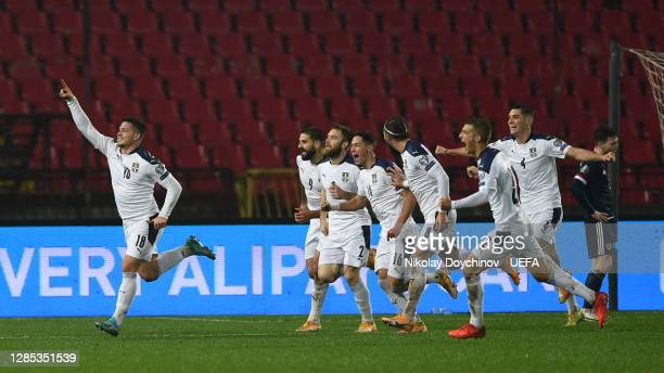 Luka Jovic of Serbia celebrates his sides first goal during the UEFA EURO 2020 Play-Off Final between Serbia and Scotland at Rajko Mitic Stadium on...