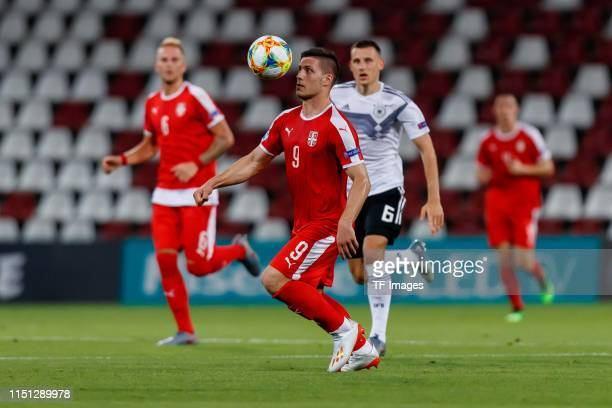 Luka Jovic of Serbia controls the ball during the 2019 UEFA U21 Group B match between Germany and Serbia at Stadio Nereo Rocco on June 20 2019 in...