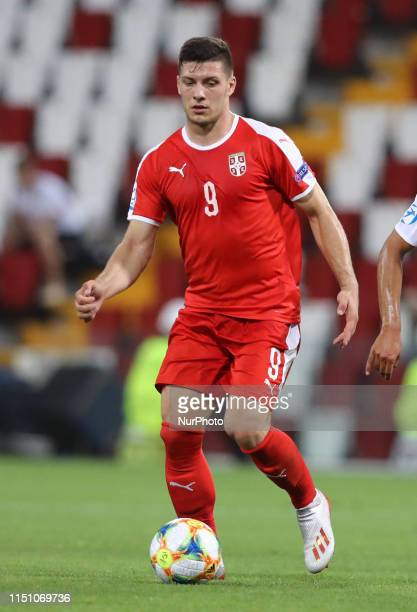 Luka Jovic of Serbia in action during the UEFA Under 21 Championship Group B match Germany v Serbia at the Nereo Rocco Stadium in Trieste, Italy on...