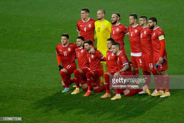 Luka Jovic of Serbia, Nemanja Gudelj of Serbia, Mihailo Ristic of Serbia ,Nemanja Radonjic of Serbia, Filip Mladenovic of Serbia, Stefan Mitrovic of...