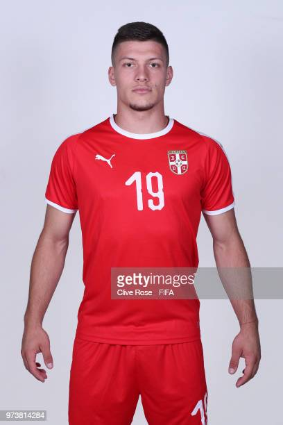 Luka Jovic of Serbia poses for a portrait during the official FIFA World Cup 2018 portrait session at the Team Hotel on June 12 2018 in Kaliningrad...