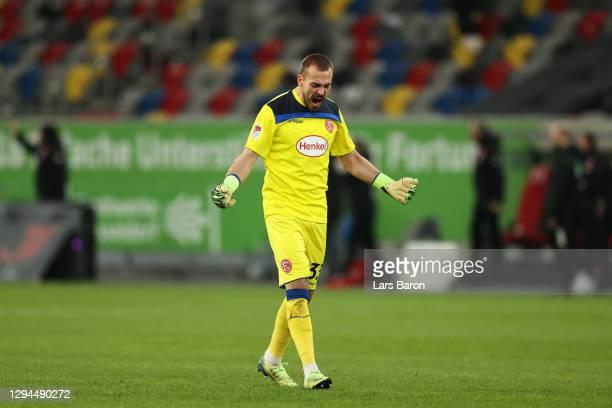 Luka Krajnc of Fortuna Duesseldorf celebrates his sides second goal during the Second Bundesliga match between Fortuna Düsseldorf and SC Paderborn 07...